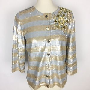 BEREK Fully Sequined Floral Beaded Sweater Jacket